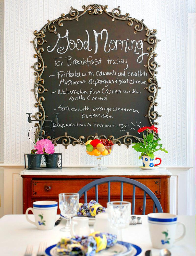 Dining Room with Chalkboard Kendall Tavern Inn BB | Freeport Maine